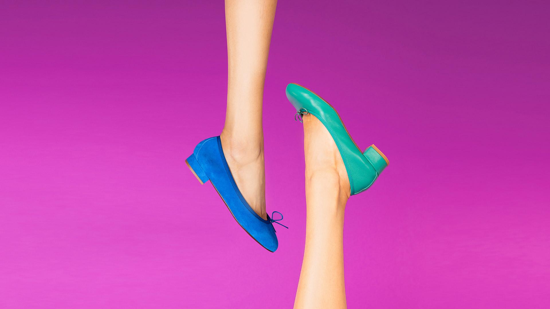 Classic ballet flats with heels