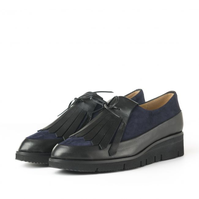 Blue and black leather women's Oxford shoes