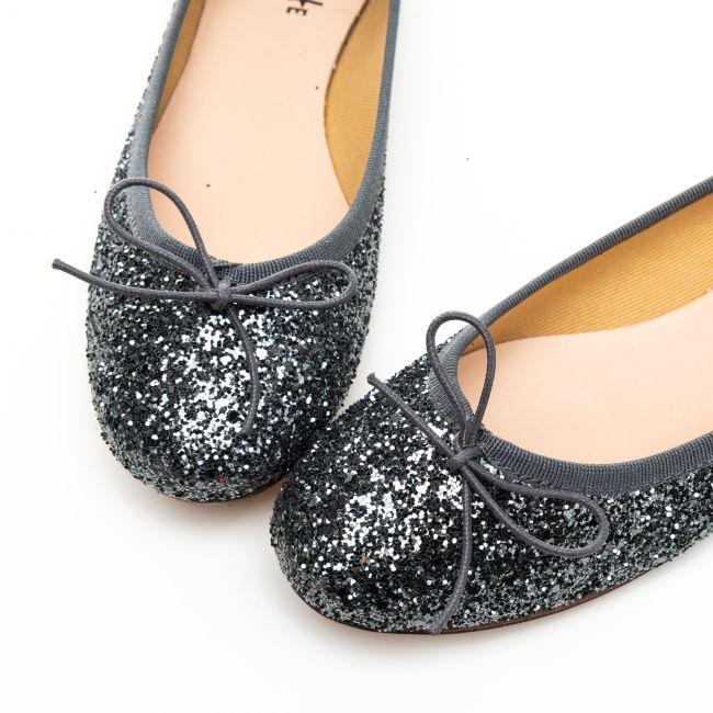 Iron gray glitter ballet flats