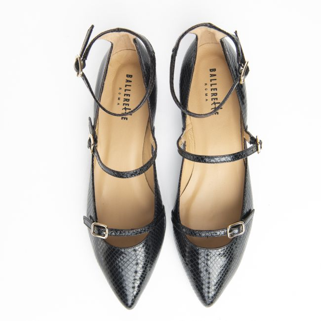 Black snake effect pointed toe ballet flats with strap