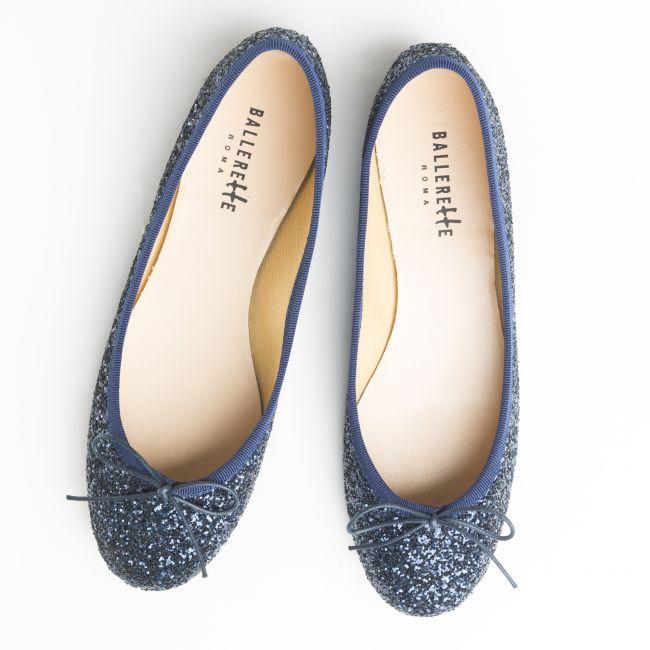 Blue glitter ballet flats