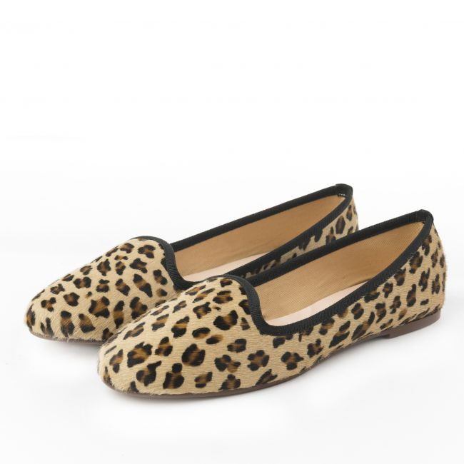 Leopard spotted pony hair woman loafers