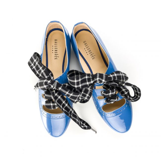 Blue patent women Oxford shoes with houndstooth bow