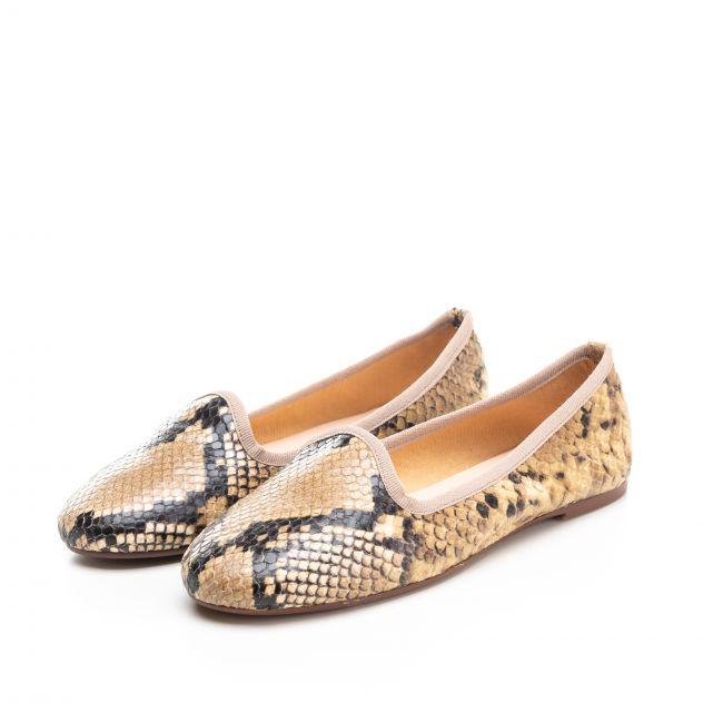 Beige snakeskin effect leather woman loafers