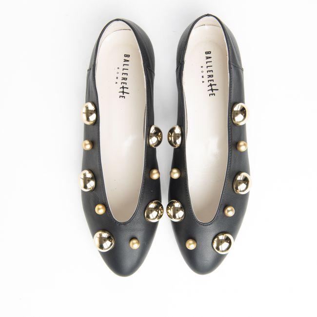 Ballerine nere accollate con perle oro