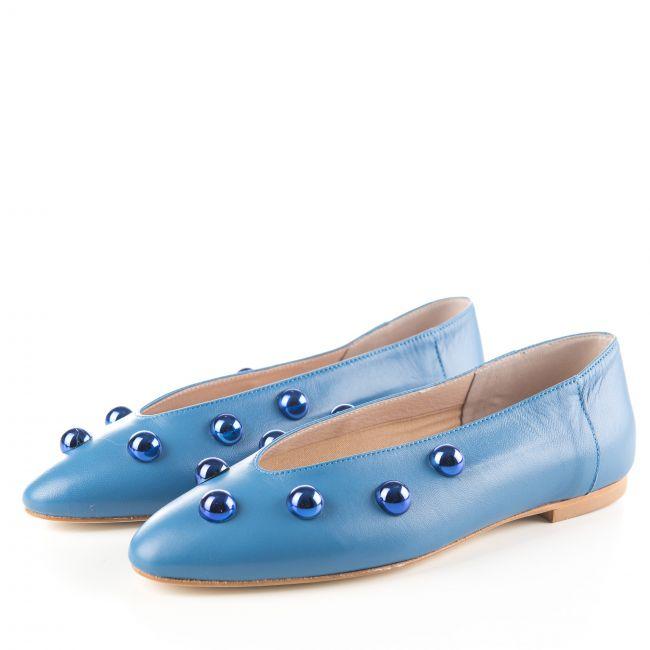 Ballerine blu jeans accollate con perle