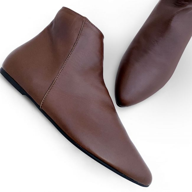 Chocolate brown leather ankle boots