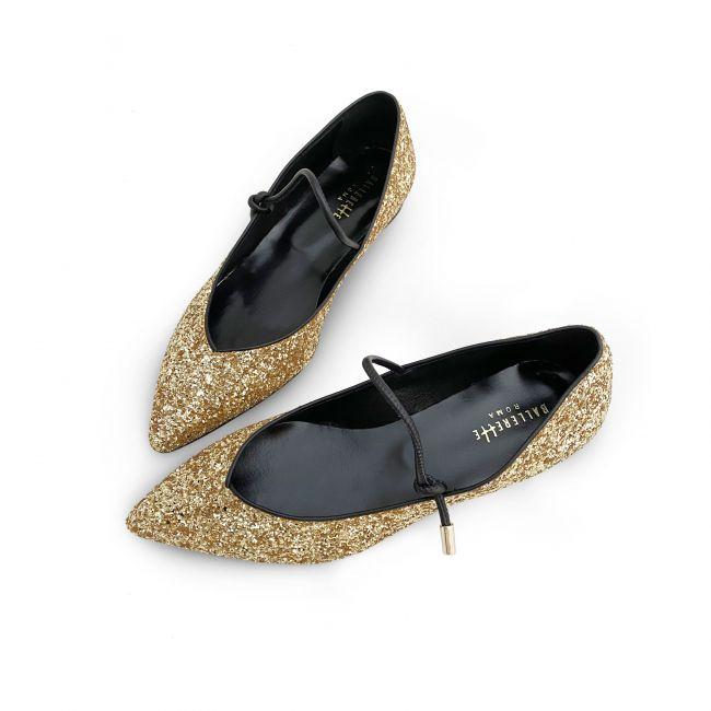 Gold glitter v vamp ballet flats with strap