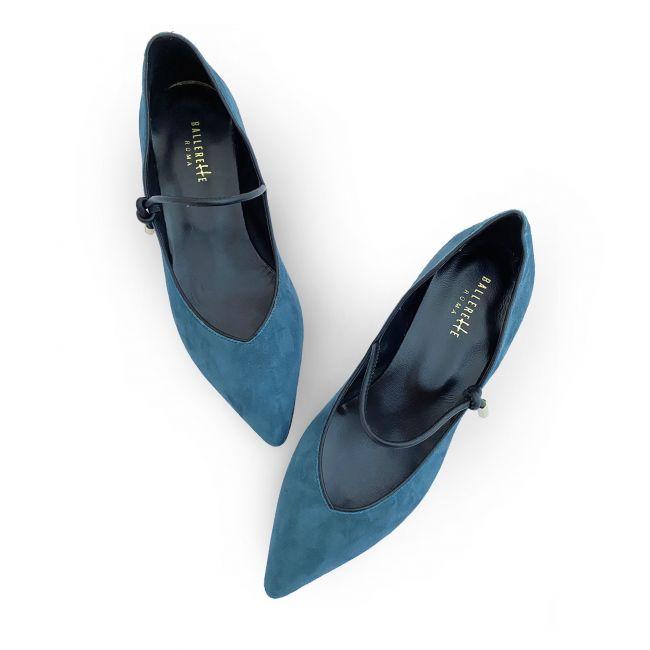 Cerulean blue v - neck ballet flats with strap