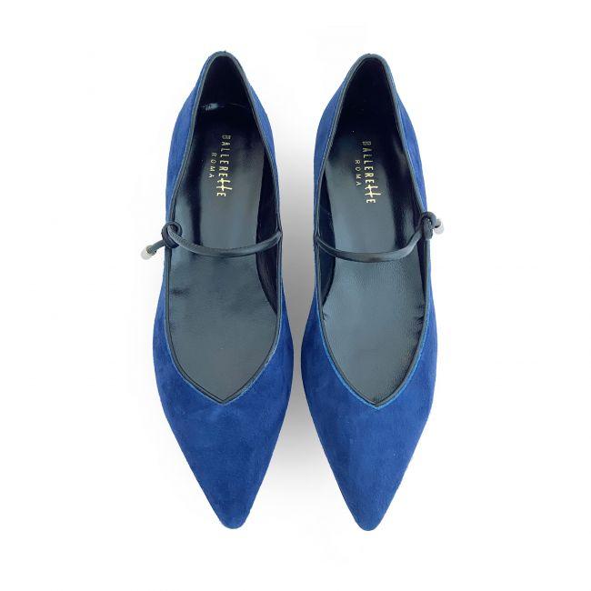 Blue suede v - neck ballet flats with strap