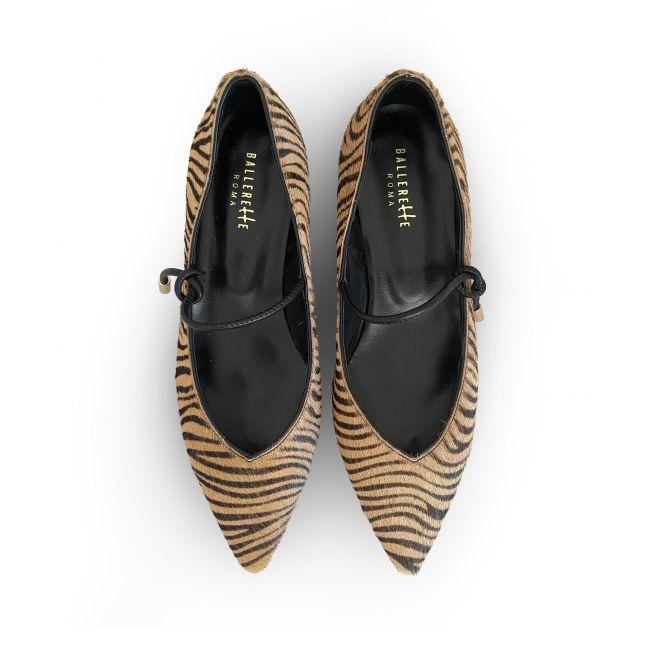 Zebra pattern print V-line ballet flats with strap