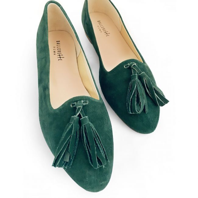 Green suede moccasins with tassels