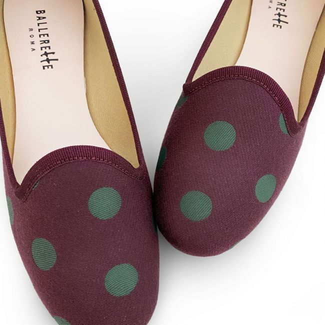 Slippers donna in tessuto bordeaux a pois