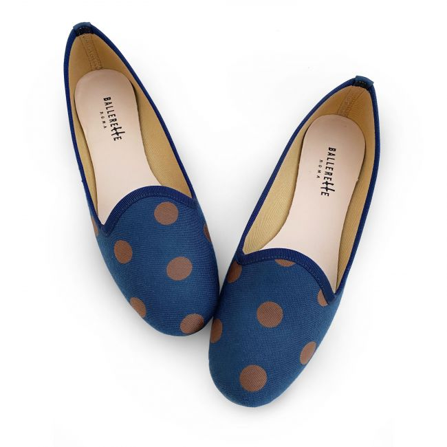 Slippers donna in tessuto blu a pois