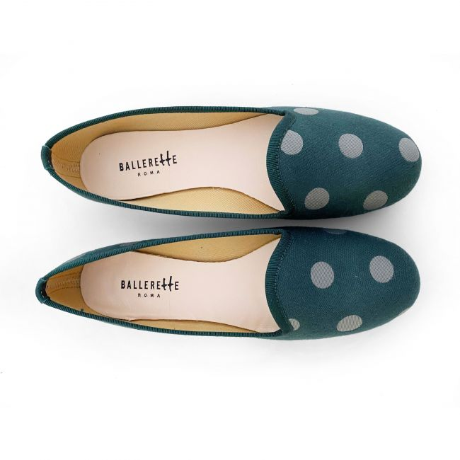 Green women loafers with polka dots