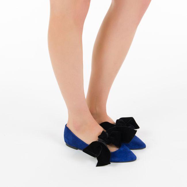 Blue ballet flats with hidden wedge heel and velvet bow