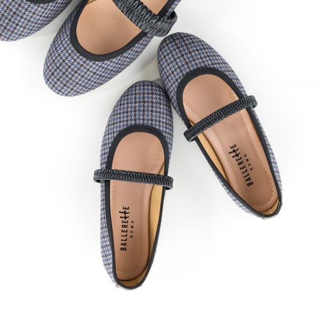 Black and white houndstooth kids ballet flats with leather elastic band