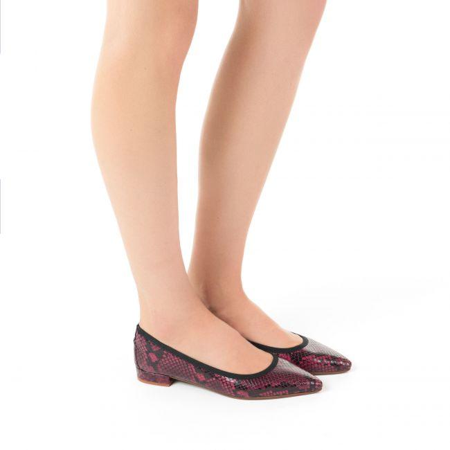 Plum snakeskin pointed toe ballet flats