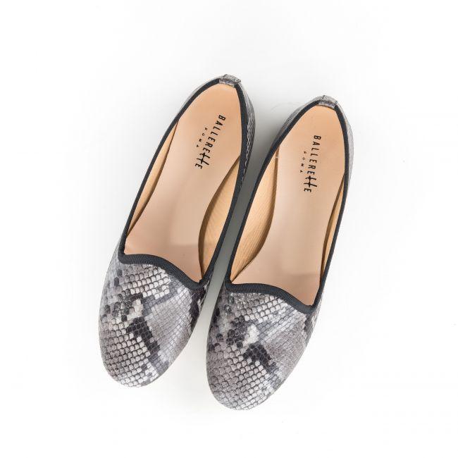 Slippers da donna pitonate grigie