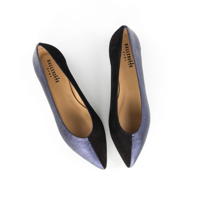 Blue and black pointed toe ballet flats