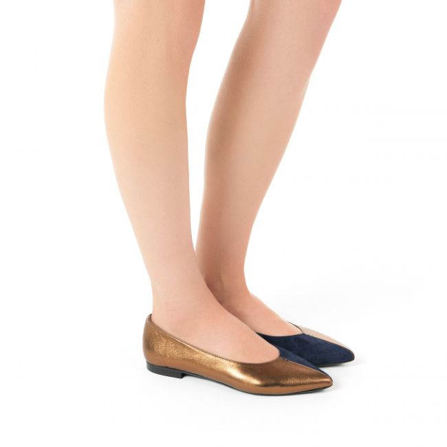 Brandy and blue pointed toe ballet flats