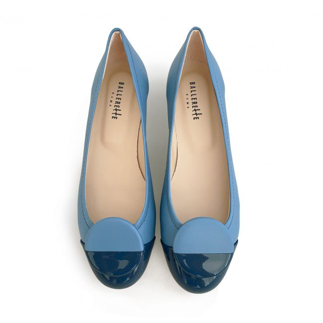 Cerulean leather ballet flats with blue patent toe and stud