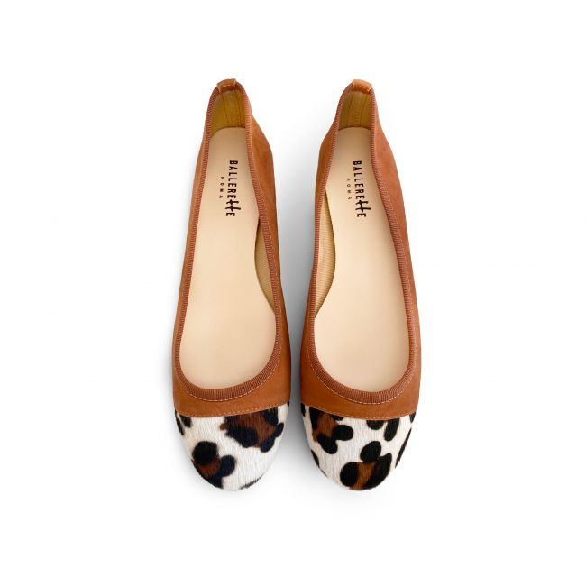 Copper suede ballet flats with leopard spotted toe