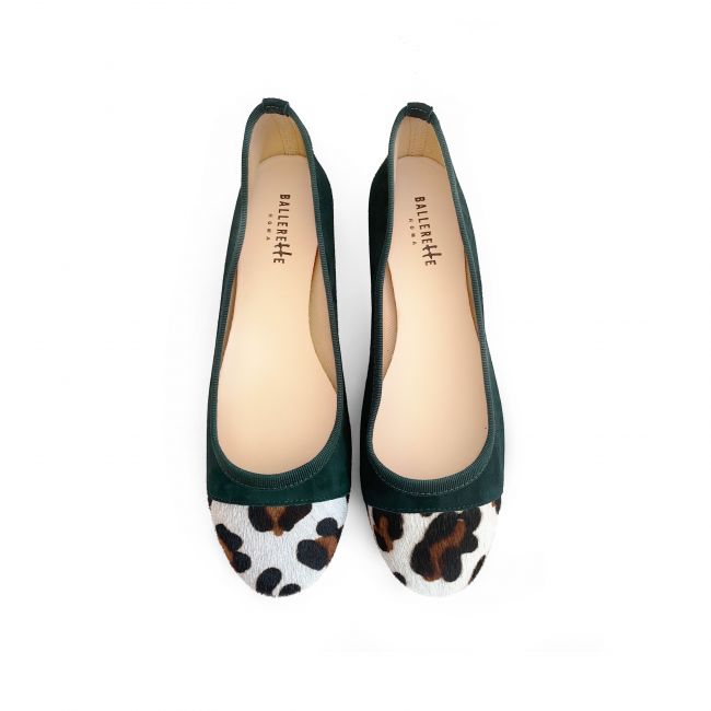 Green suede ballet flats with leopard spotted toe