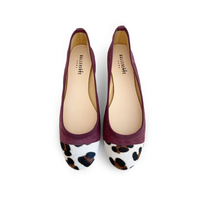 Eggplant purple suede ballet flats with leopard spotted toe