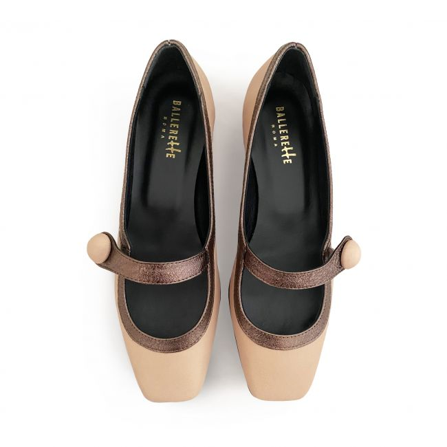 Powder pink Mary Jane ballet shoes with heel