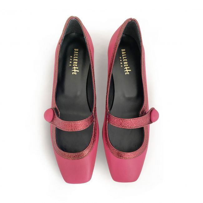 Fuchsia Mary Jane ballet shoes with heel
