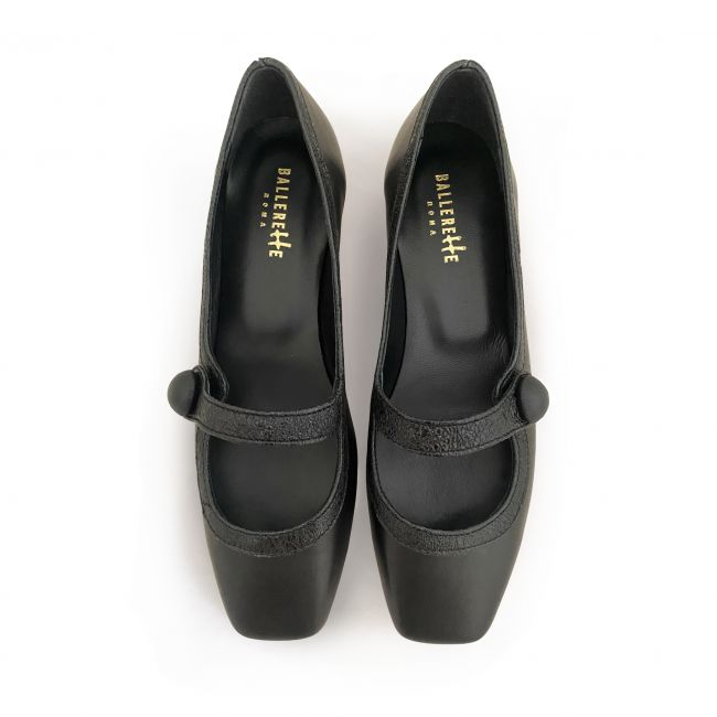 Black Mary Jane ballet shoes with heel