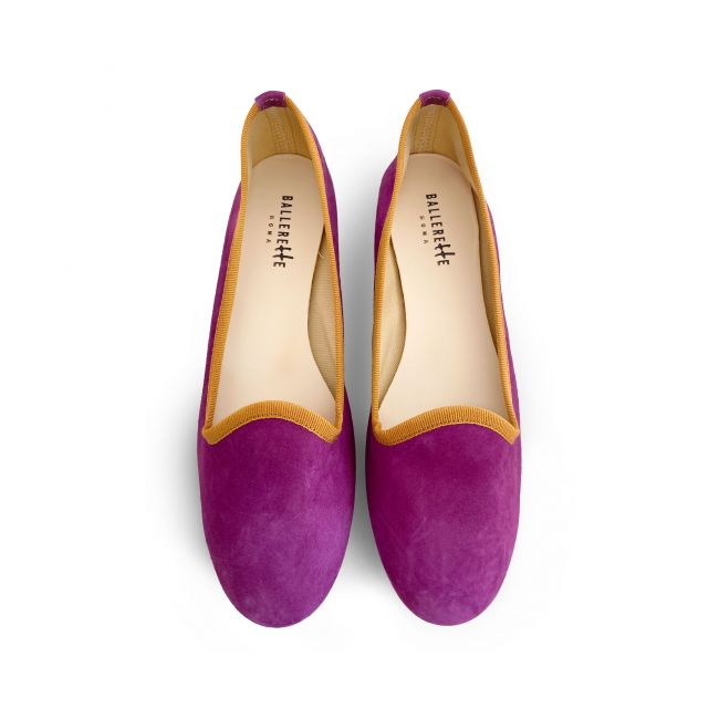 Plum violet women loafers in suede