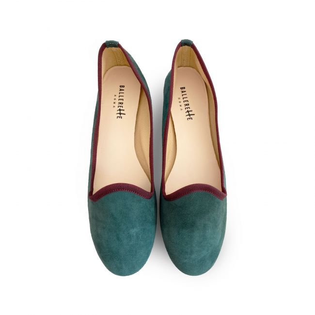 Forest green women loafers in suede
