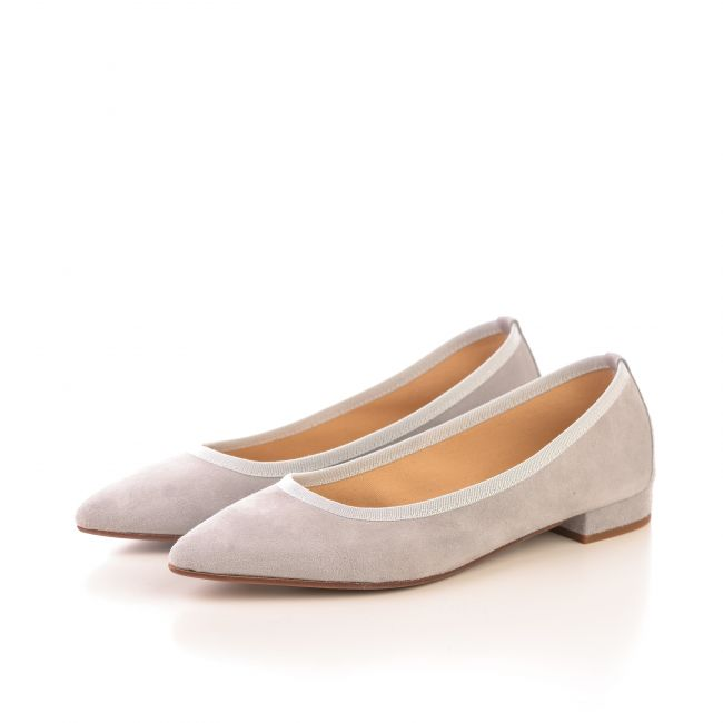 Pointed toe pearl grey suede ballet flats