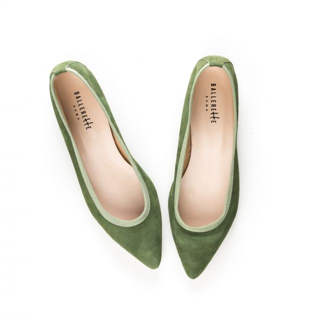 Pointed toe basil green suede ballet flats