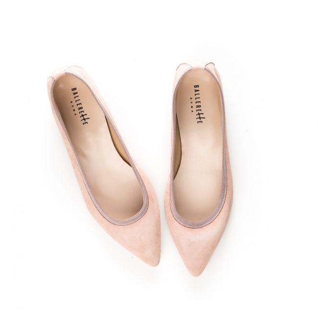 Pointed toe pink suede ballet flats