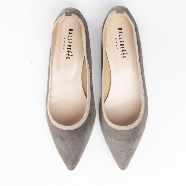 Pointed toe taupe suede ballet flats