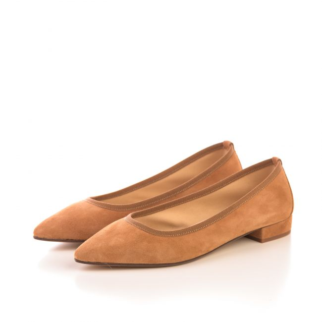 Pointed toe tan suede ballet flats