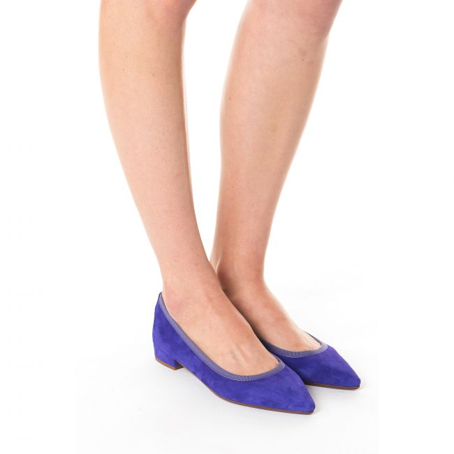Purple suede pointed toe ballet flats