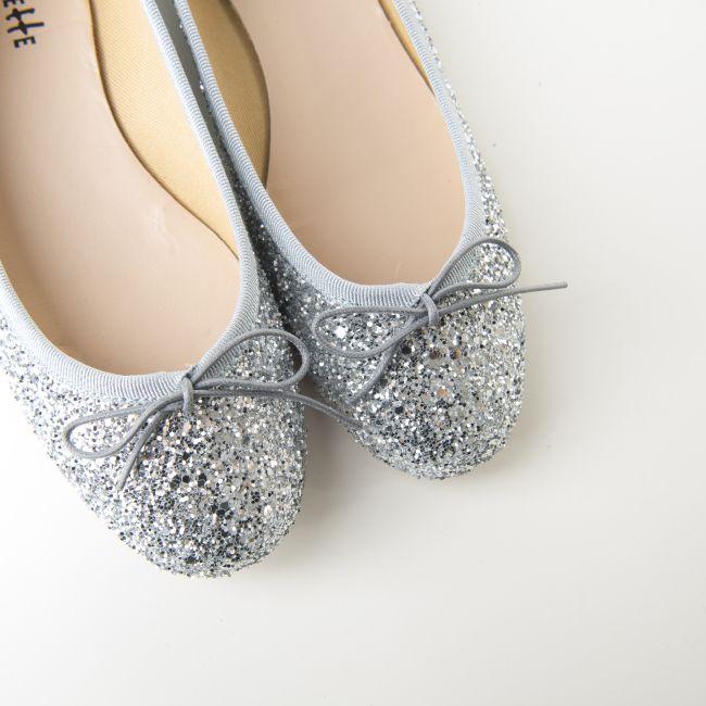Silver glitter ballet flats