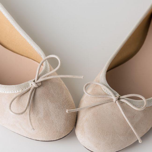 Beige suede ballet flats