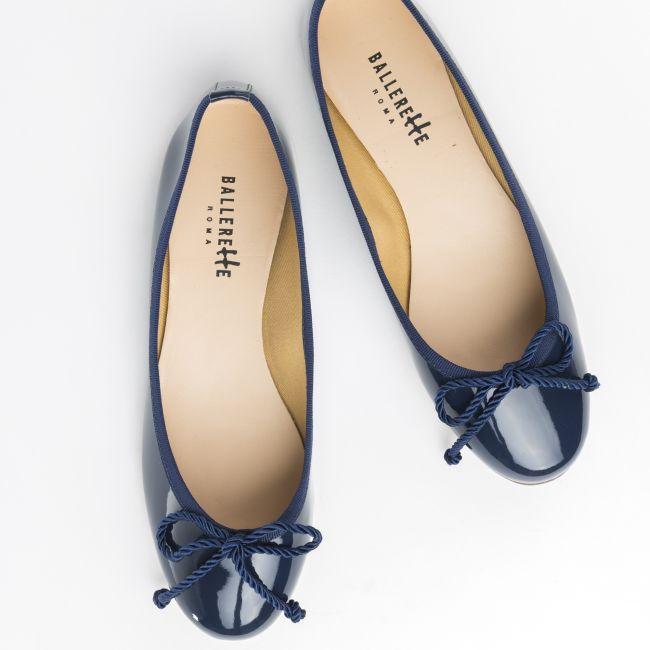 Blue patent ballet flats