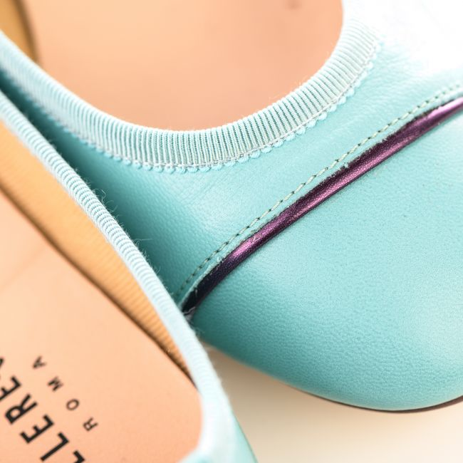 Light blue leather ballet flats with plum detail