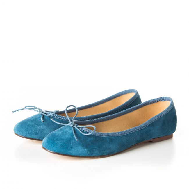 Cerulean blue suede ballet flats