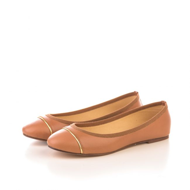 Tan leather ballet flats with gold detail