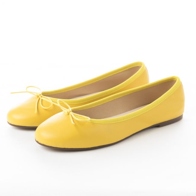 Yellow leather ballet flats