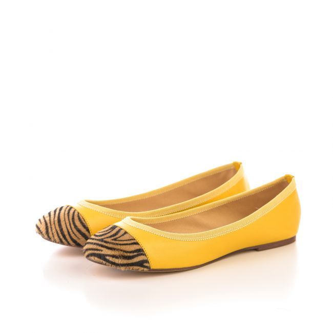 Yellow leather ballet flats with zebra pattern toe