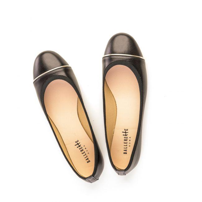 Black leather ballet flats with platinum detail