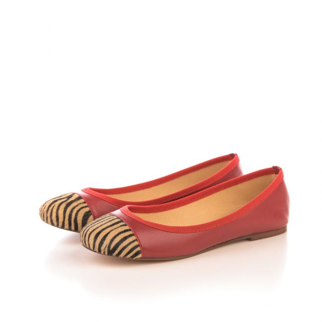 Red leather ballet flats with zebra pattern toe